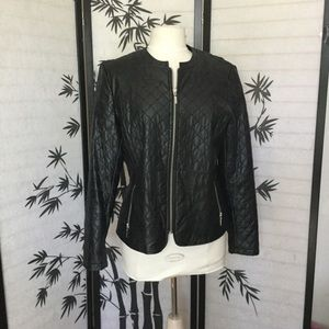 Vegan faux leather quilted biker jacket large